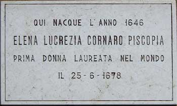 Memorial of Elena Lucrezia Cornaro Piscopia