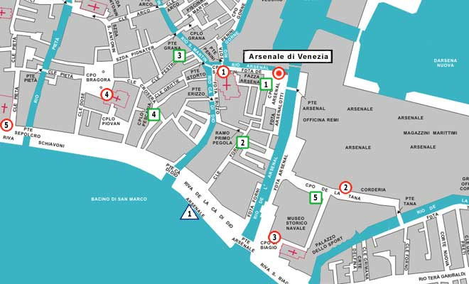 Arsenale on Venice map